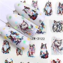 Lcj 2020 Nuovo Arrivial Nail Adesivi Tigre/Cat Serie di Acqua Della Decalcomania Del Fiore Pianta Modello 3D Manicure Autoadesivo Del Chiodo Acqua sticker