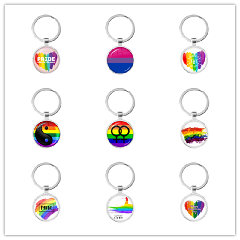 LGBT Keychains Bi Pride 25mm Glass Dome Pendant Key Ring Gay Pride Rainbow Flag Photo Glass Cabochon Jewelry For Women Men Lover