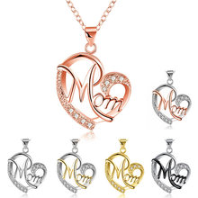 HUITAN Fashion Letter MOM Heart Shape Inlaid Crystal Pendant Necklace Mother's Day Gift High Quality Jewelry Wholesale Lots Bulk