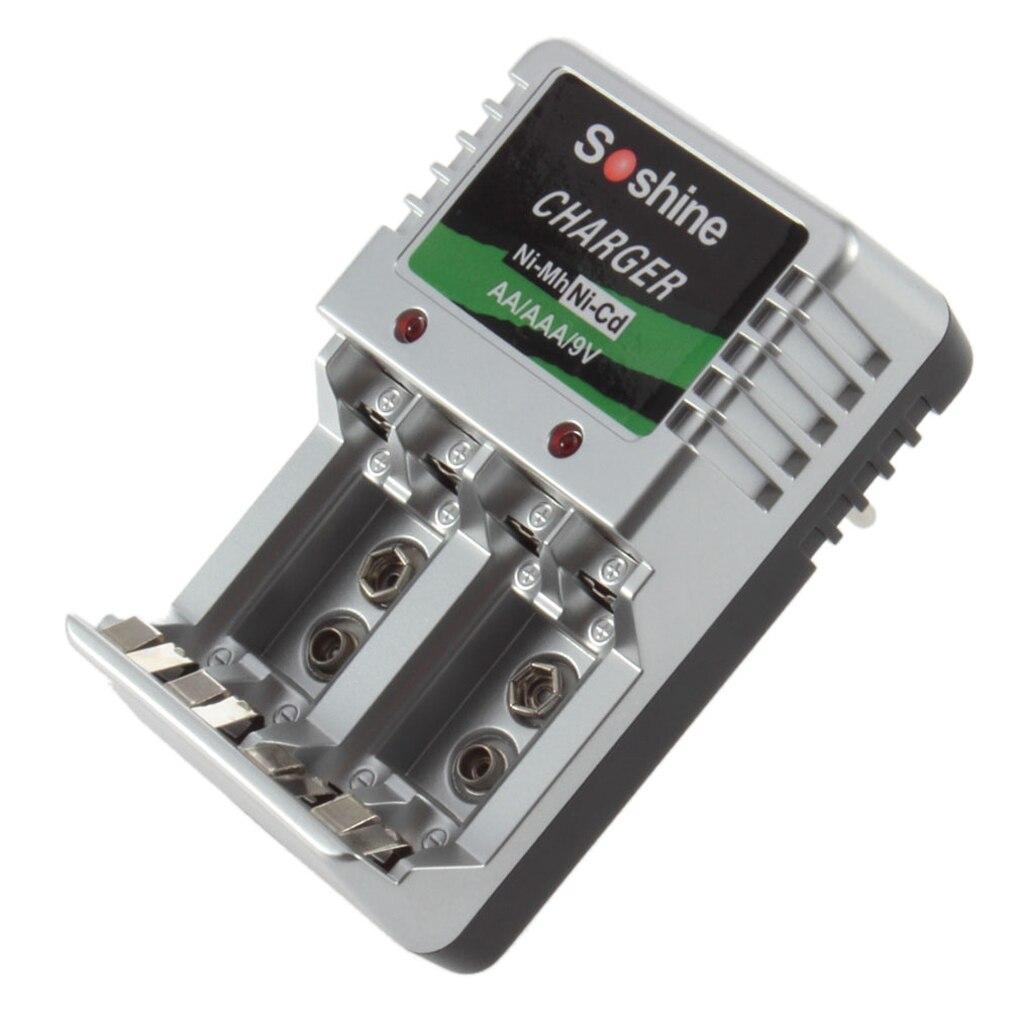 Зарядное устройство с двусторонней зарядной индикацией для AA/AAA/9V/Ni-MH/Ni-Cd аккумуляторной батареи