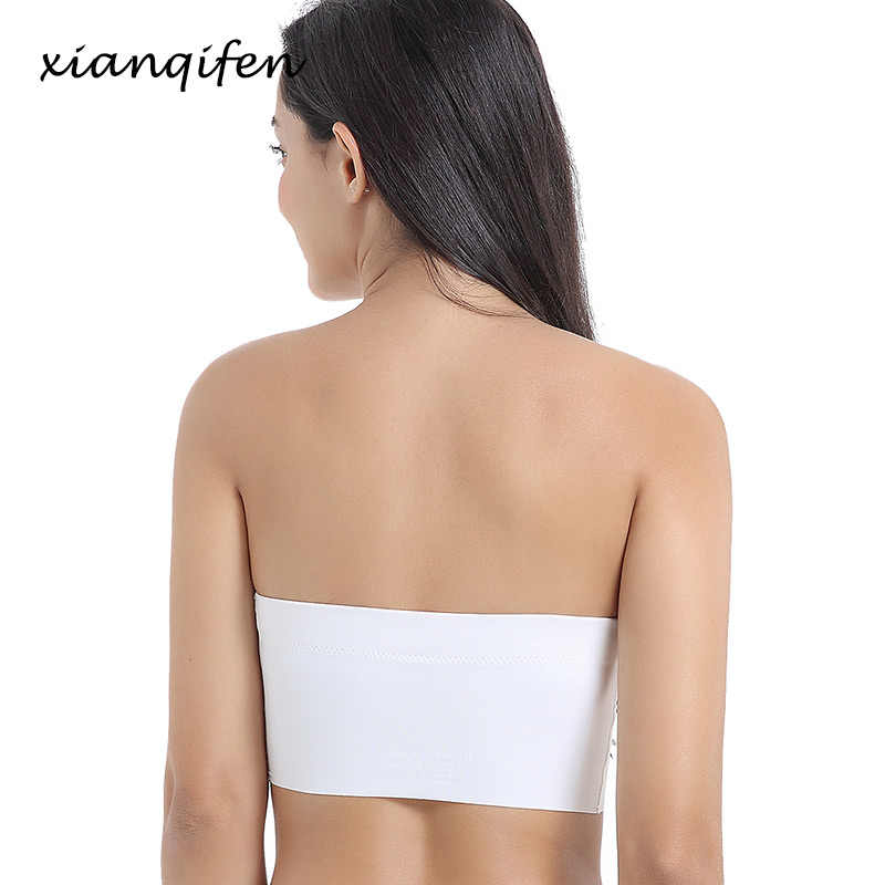 Xianqifen sans bretelles sexy lingerie bustier tubulaire bh soutiens-gorge pour femmes grande taille mince bralette brassière fille sans couture sans fil SML