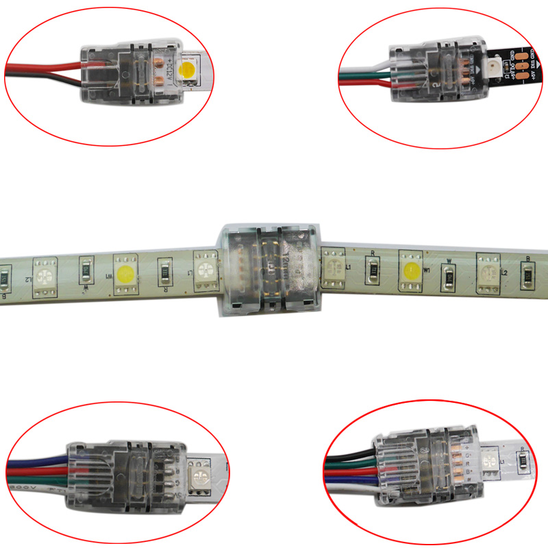 5pcs/lot 2pin 3pin 4pin 5pin 6pin LED Strip Connector For 3528 5050 Led Strip To Wire/Strip Connection Use Terminals