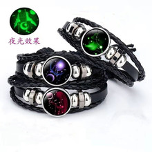 Vintage Handmade Multilayer Leather Bracelet 2019 New 12 Constellation Luminous Glass Bracelets for Men Women Jewelry Gifts