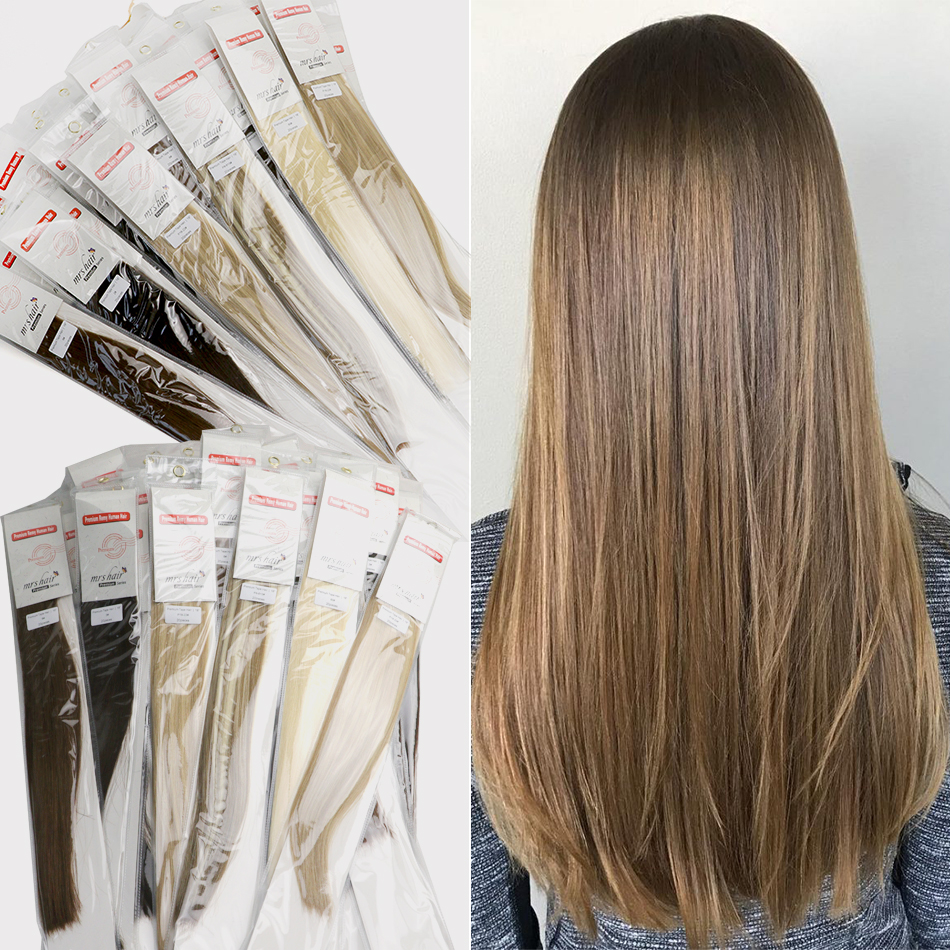 """MRSHAIR Double Drawn Tape In Human Hair Extensions 20pc Cuticle Intact Remy Hair On Tape Seamless Adhesive Skin Weft 16"""" 18"""" 22"""""""