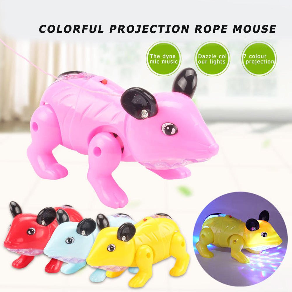 Electronic LED Light Music Walking Mouse Toys Exercise Practical Ability Color Cognition Kids Educational Toys Random Color