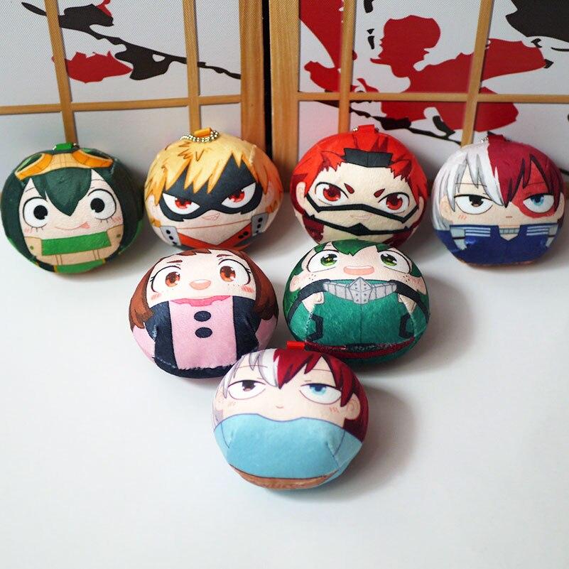 My Hero Academia Keychain Dolls Anime Izuku Bakugou Todoroki Kirishima Tsuyu URARAKA Cosplay Plush Toy Mini Bag Pendant Gift