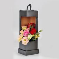 Gorąca sprzedaż latarnia morska przenośne kwiatowe pudełko papierowe składane pudełko kwiatowe opakowanie kosz na kwiaty materiały florystyczne czarne w Przenośne uchwyty na papier toaletowy od Dom i ogród na