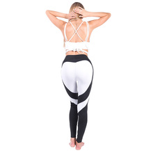 CINESSD Patchwork Sport Leggings Breathable Yoga Pants Love Pattern Slim Lift Buttocks Leggings Sport Women Fitness Yoga Pants breathable chevron pattern yoga leggings