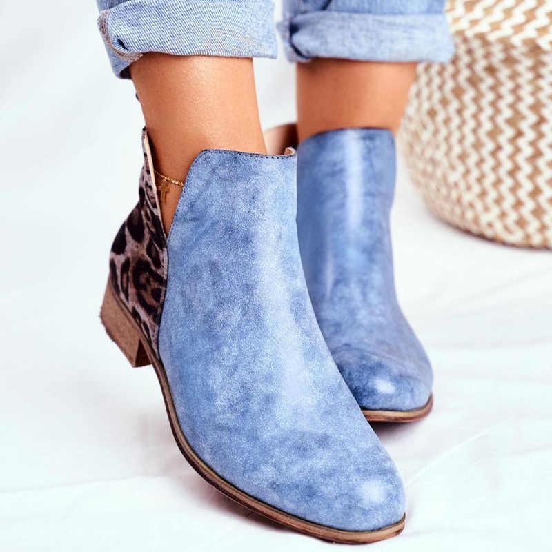Wanita Vintage Leopard Tumit Rendah Wanita Retro PU Kulit Sepatu Bot 2020 Wanita Zip Wanita Sepatu Wanita Sepatu Bot Pendek ukuran 43