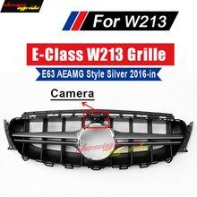 W213 Grille AEAMG Style With Camera Sports Bumper For E-Class E63 E200 E250 E300 E350 E400 E500 ABS Front 2016-in