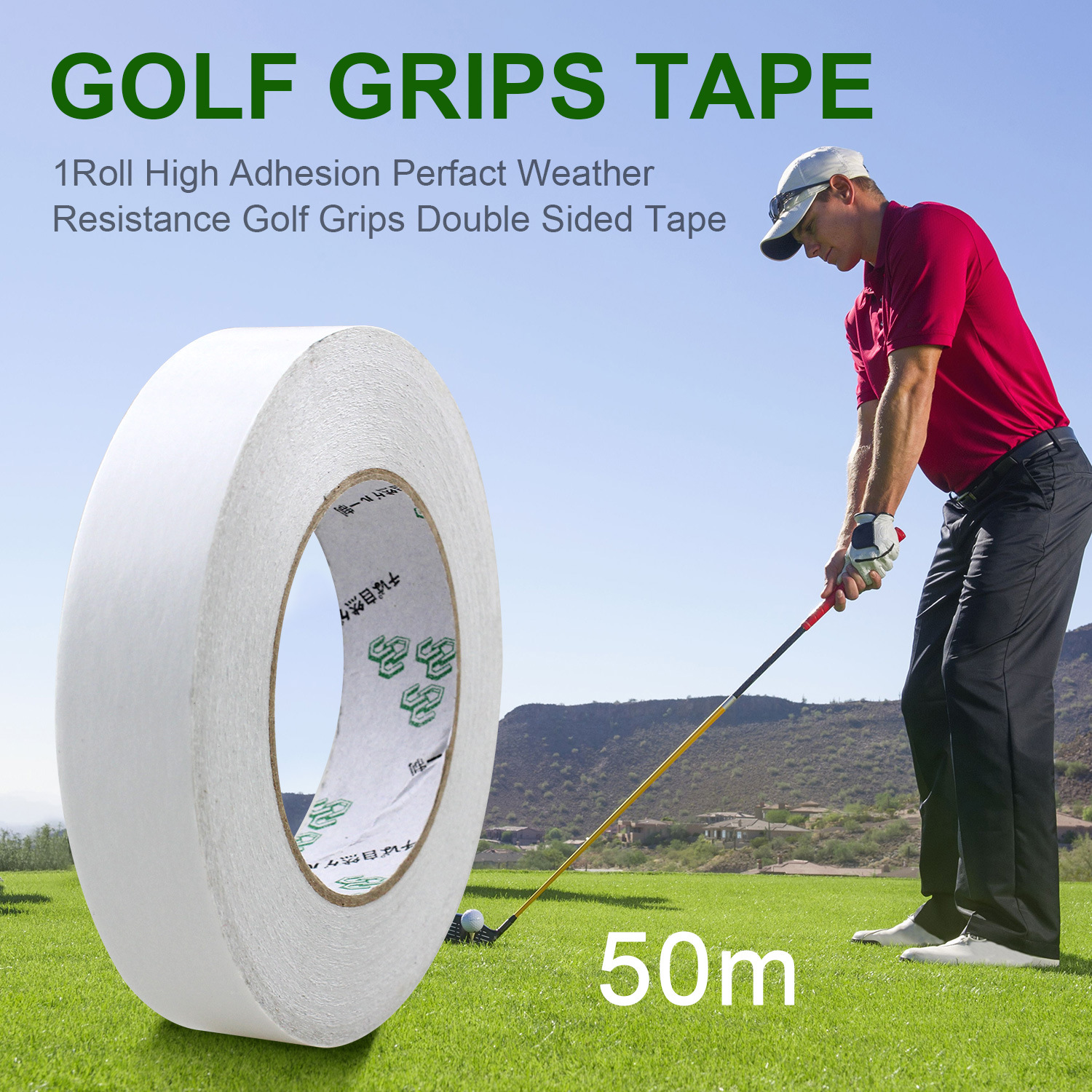 1Roll 50m Width 50/40/35/30/25/20/18mm Professional Golf Grips Double Side Tape Clubs/Putter/Wedge Tapes Regripping Accessories