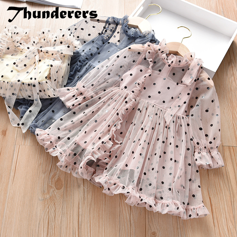 Thunderers Fashion Girl Party Dresses Mesh Dots Long Sleeve Children Princess Dress Casual Elegant Kids Dress Baby Clothes image