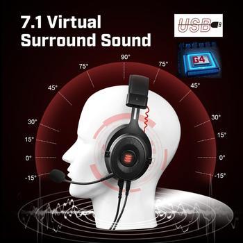 EKSA-auriculares E900 Pro para Gamer, cascos con USB 7,1/3,5mm, profesionales, con micrófono, Control de silencio, luz LED, para PC y móvil 5