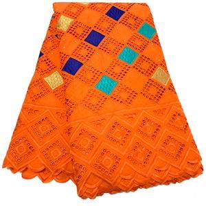 Image 4 - NIAI حار بيع 100% القطن الأفريقي قماش دانتيل جاف النيجيري أقمشة الدانتيل 2020 جودة عالية الفوال السويسري في سويسرا XY2868B 1