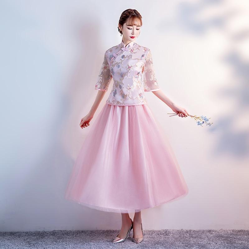 2pcs Set Cheongsam Vintage Embroidery Party Pink Bridesmaid Dress Wedding Guest Elegant Dress Sexy Prom Half Sleeve Tea-length