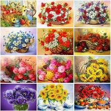 Алмазная 5d картина «сделай сам» с цветами полностью круглая