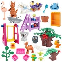Novo grande blocos de construção acessórios jardim zoológico animais koala modelo móveis compatível duplie tijolos criatividade educação criança brinquedos
