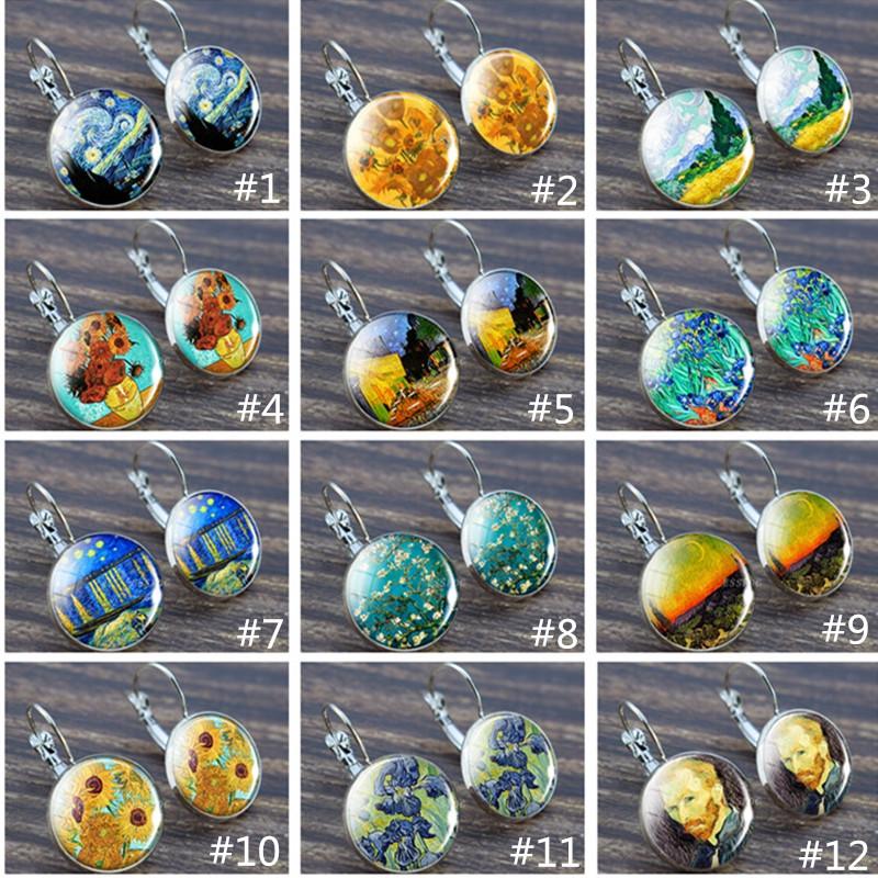 Silver Van Gogh Painting Series Earrings Van Gogh Starry Night Tibetan Silver Hook Earrings Christmas Gifts