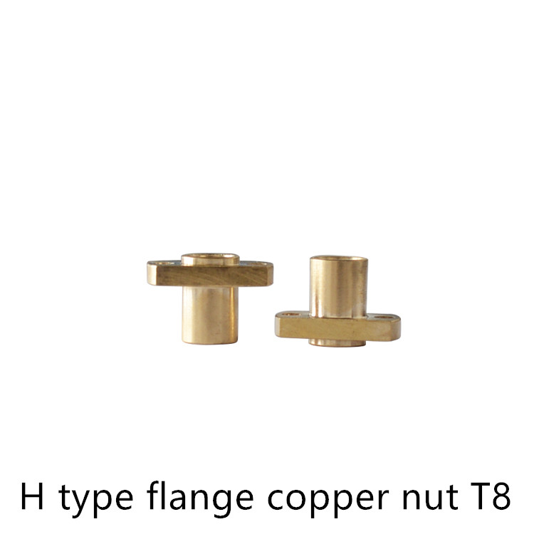 T8 Nut H Flange Copper Pitch 2mm Lead 4mm 8mm For Screw Trapezoidal