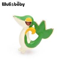 Wuli&baby Cartoon Green Crocodile Chameleon Brooches Women Cute Animal Party Brooch Pins Gifts