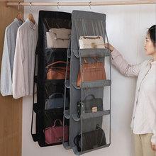 8 wisząca kieszeń torebka Organizer do szafy szafa przezroczysta torba do przechowywania włóknina uchwyt do przechowywania PVC z wieszak do szafy tanie tanio Włókniny tkaniny