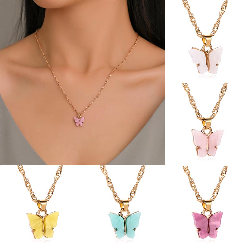 Girl Elegant Rose Gold Sweet Double Butterfly Pendant Necklace Clavicle Chain 6A