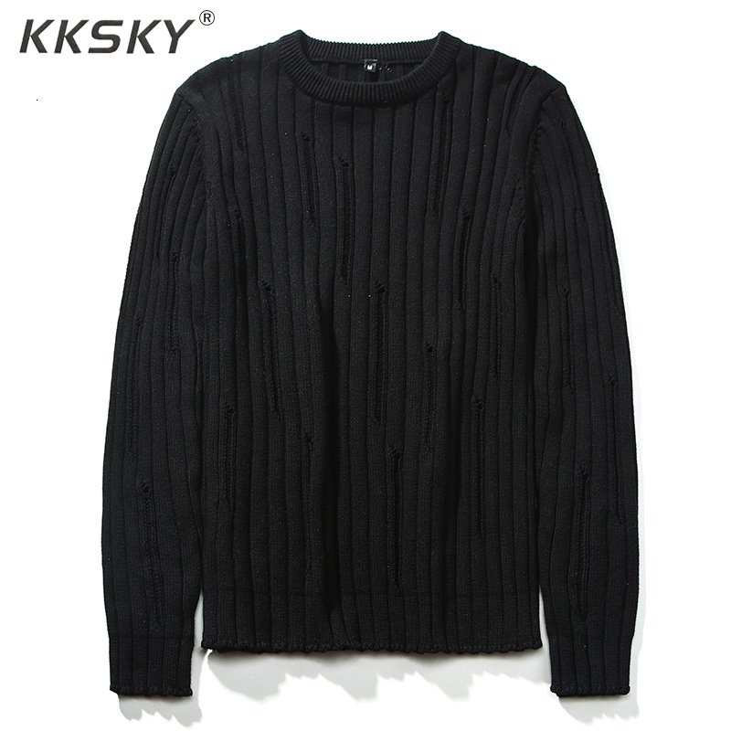 Men's Pullover O-Neck Solid Color 100% Cotton High Quality Long Sleeve 2019 Winter Warm Hole Fashion Sweater For Homme Sweater