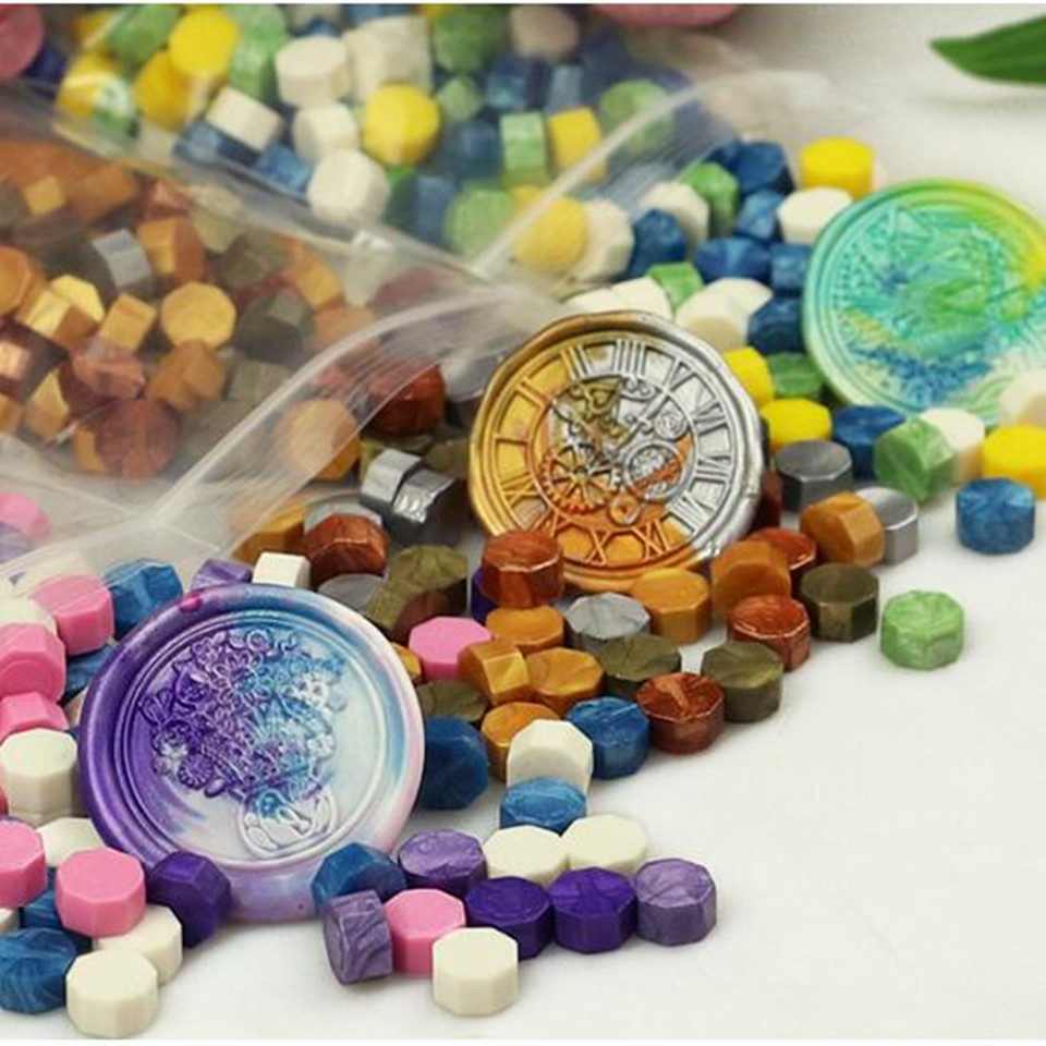 One Bag Sealing Wax Beads Granular Grain Multi Color Seal Tablet Around 100pcs Sealing Wax Retro Stamps For Envelope Documents