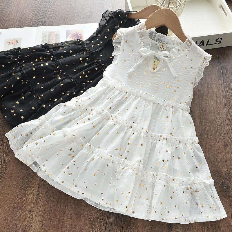 Nova menina de verão mini v pescoço manga curta algodão plissado arco 2021 branco estrela ocidental estilo chao fan princesa vestido tz0013