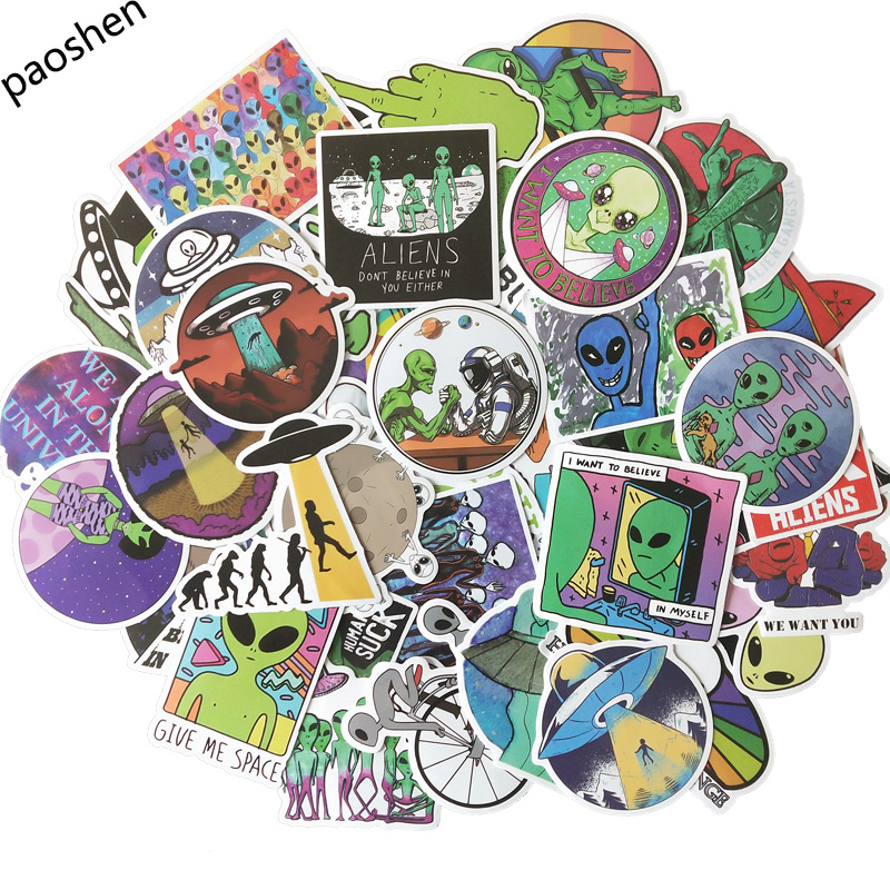 50pcs / Set Of Graffiti ET Stickers Aliens UFO Fun Strange Stickers DIY Suitcase Portable Suitcase Motorcycle Car Stickers