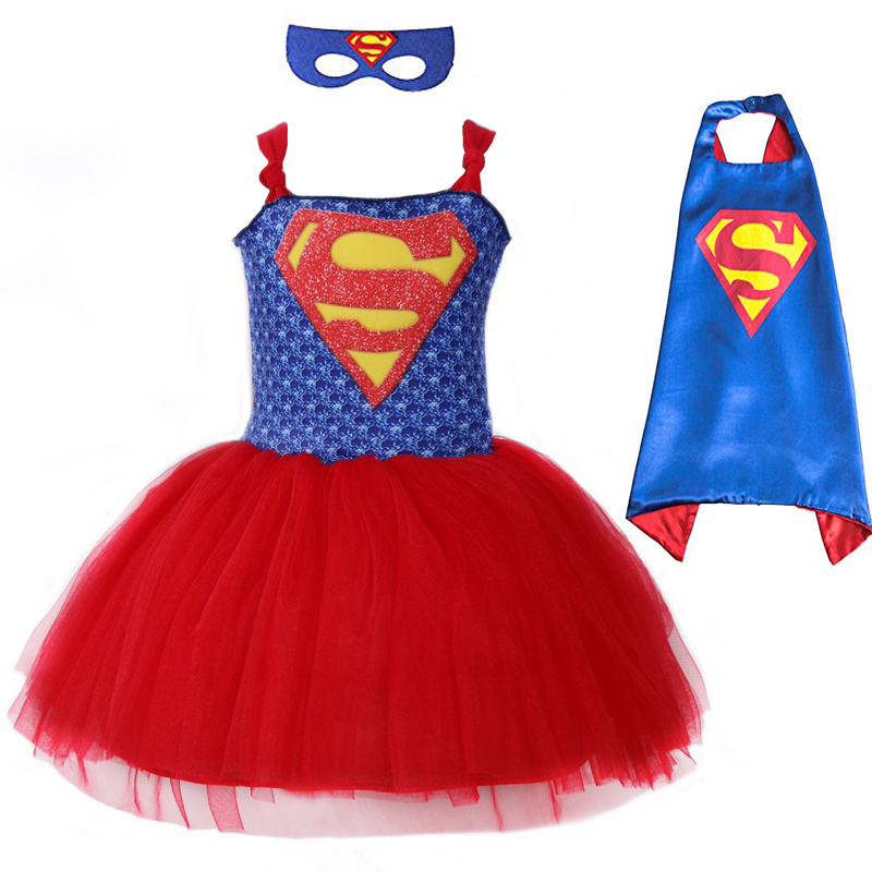 Girls Superman Carnival Cosplay Costume Super Hero Inspired Baby Kids Tutu Dress With Mask Christmas Halloween Costumes For Kids