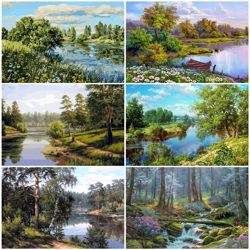 AZQSD Oil Painting By Numbers Natural Scenery DIY Handpainted Gift Pictures By Numbers Forest Living Room Home Decoration