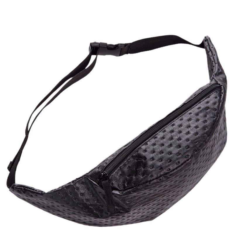 Dot Leather Belt Bag PU Fanny Pack For Women Waist Bag Pouch Bag(Black)