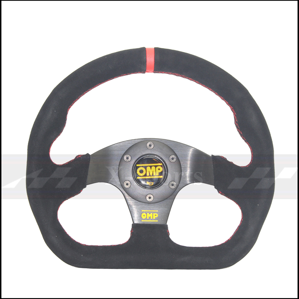 OMP voiture Sport volant de course Type haute qualité universel 13 pouces 320MM aluminium + daim PVC jaune rouge - 2