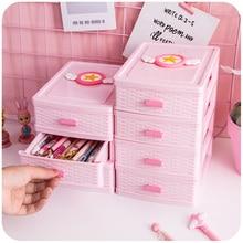 2-4 Layer Pink Drawer Desk Storage Box Plastic Document Holder Cosmetic Cabinet Storage Organizer Desktop Makeup Organizer