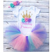 Personalised half Birthday cake smash Customize name age any Character Baptism Baby Shower princess baby girl tutu set outfit(China)