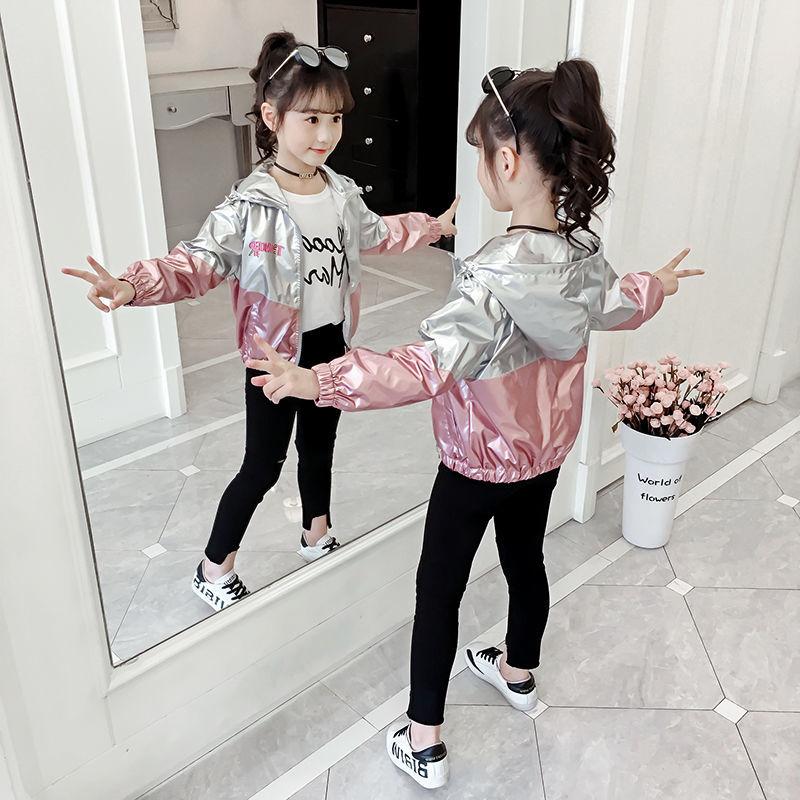 Spring Autumn Shiny Baby Girl's Hooded Thin Jacket Kids Outfits Baseball Jacket Girl Bright Fall Outerwear Tops Windbreaker Coat