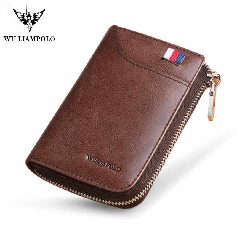 WILLIAMPOLO 2019 الرجال محافظ سستة الذكور Portomonee قصيرة محفظة العلامة التجارية عالية الجودة حقيقية حافظة بطاقات جلدية محافظ PL310