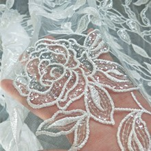 Rayon embroidery tulle mesh sequins lace fabric 1 yard! Ivory wedding bride gowns material 2019 NEW design!