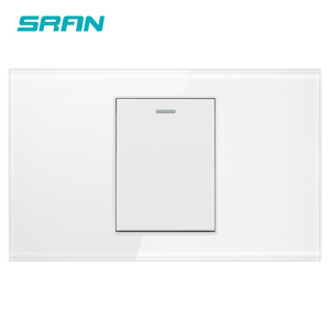 SRAN AU/US standard 1 gang 2 way rocker switch,250V 16A wall light switch for stairs crystal tempered glass 118mm*72mm