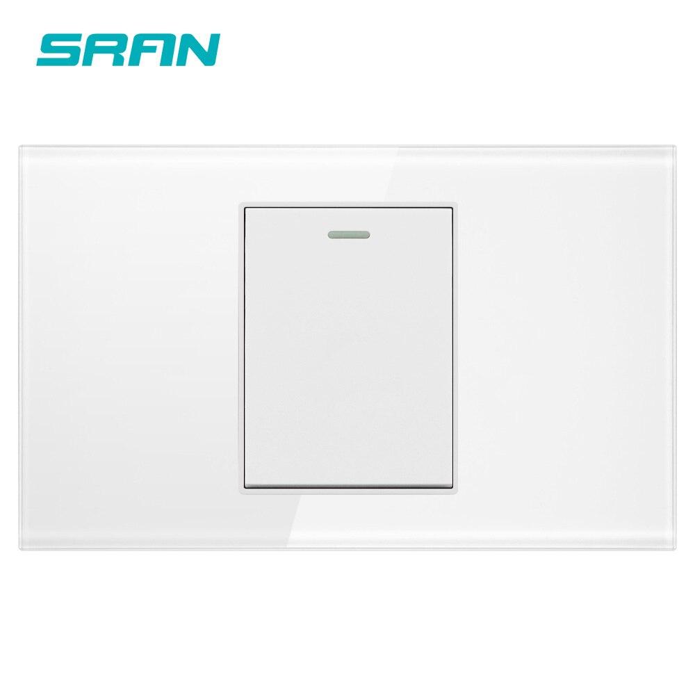 Sran au/eua padrão 1 gang 2 vias interruptor de balancim, 250 v 16a interruptor de luz de parede para escadas cristal vidro temperado 118mm * 72mm