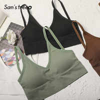 SAM'S TREE Multicolor Solid Sexy V Neck Women Sling Tops 2020 Spring New Fashion Elastic Hem Backless Office Ladies Basic Camis