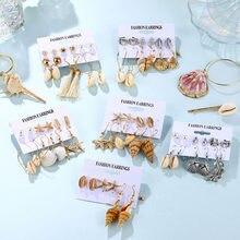 EN – ensemble de boucles d'oreilles EN coquillage de mer pour femmes, bijoux géométriques, style Boho, conque, étoile de mer, goutte d'eau, plage, été, 2020