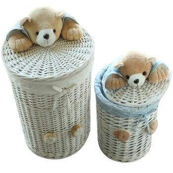 Small & Large laundry basket organizer woven wicker baskets Round Laundry Hamper Sorter Storage Basket with Bear Head Lid cesta laundry basket curver infinity 59 l gray