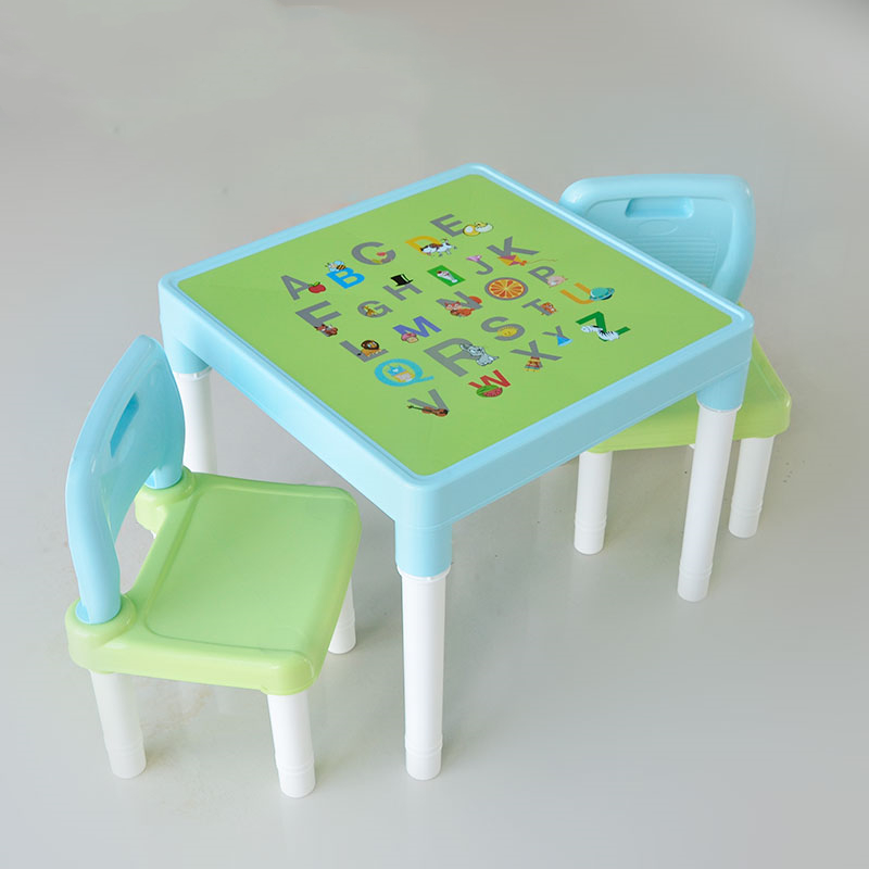 Children's Table Chair Table Chair Chair Plastic Toy Game Writing A Table Two Chairs Letter Cartoon