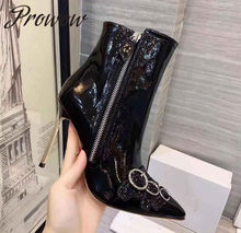 Prowow New Black White Genuine Leather Zip Side Spring Winter Boots Sexy Pointed Toe Metal Blade High Heel Boots Shoes Women(China)
