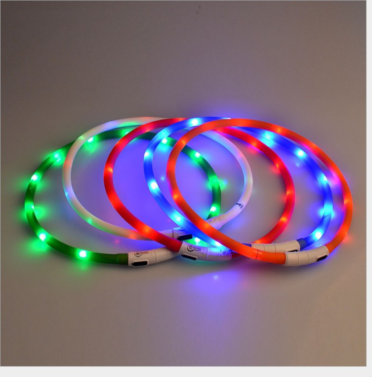 LED Pet Dog Luminous Collar USB Charging Neck Ring Night Light Dog Neck Teddy Golden Retriever Medium And Small Neck Ring