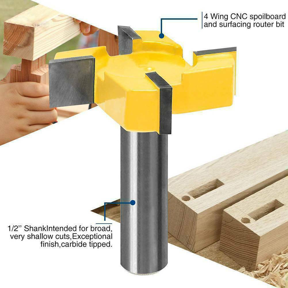 CNC Spoilboard Surfacing Router Bit 1/2 Inch Shank Durable Carbide Tipped Tool For Woods Particle Board