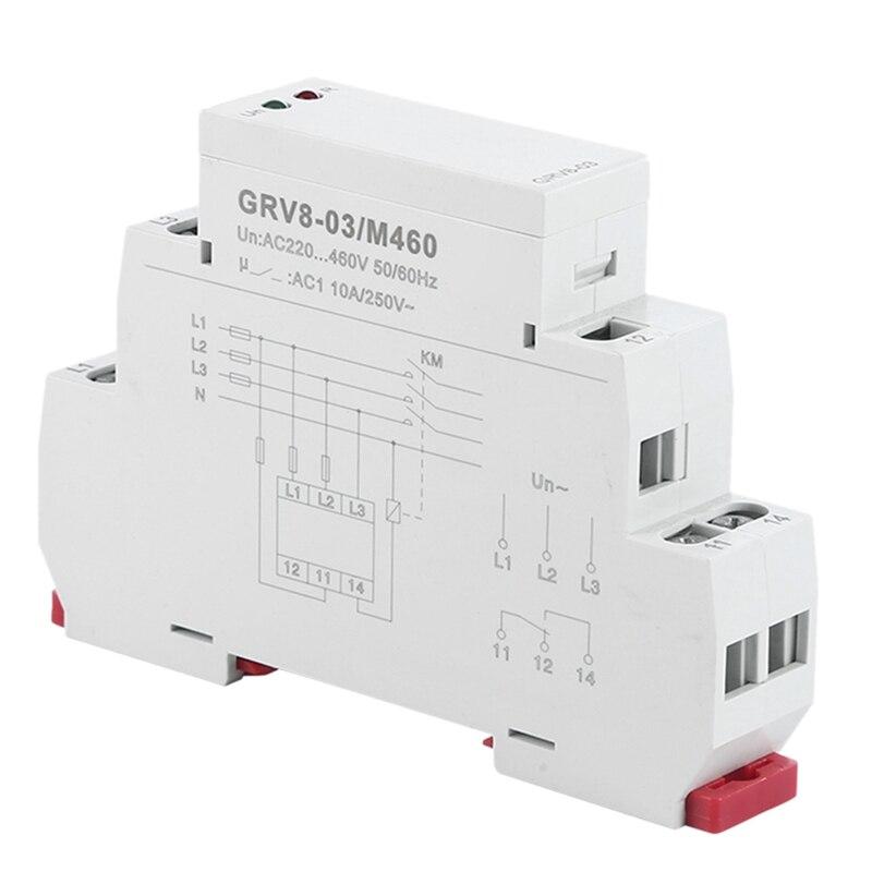 Tüketici Elektroniği'ten AC/DC Adaptörler'de Gerilim İzleme röle faz sırası ve faz hatası koruma rölesi 10A 1SPDT GRV8 03 title=