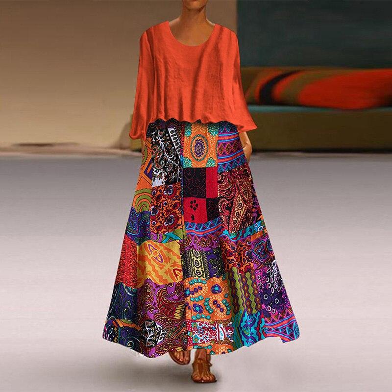 Plus Size Women Vintage Ethnic Print Maxi Dress Autumn Long Sleeve Floral Sundress Casual Retro Party Vestido Robe 2 Pieces Sets